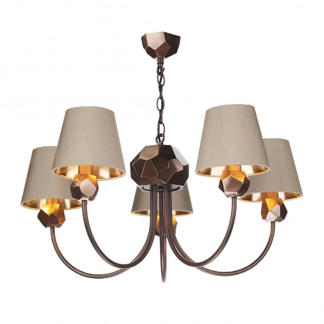 SHARD decorative copper 5 light pendant with taupe silk shades