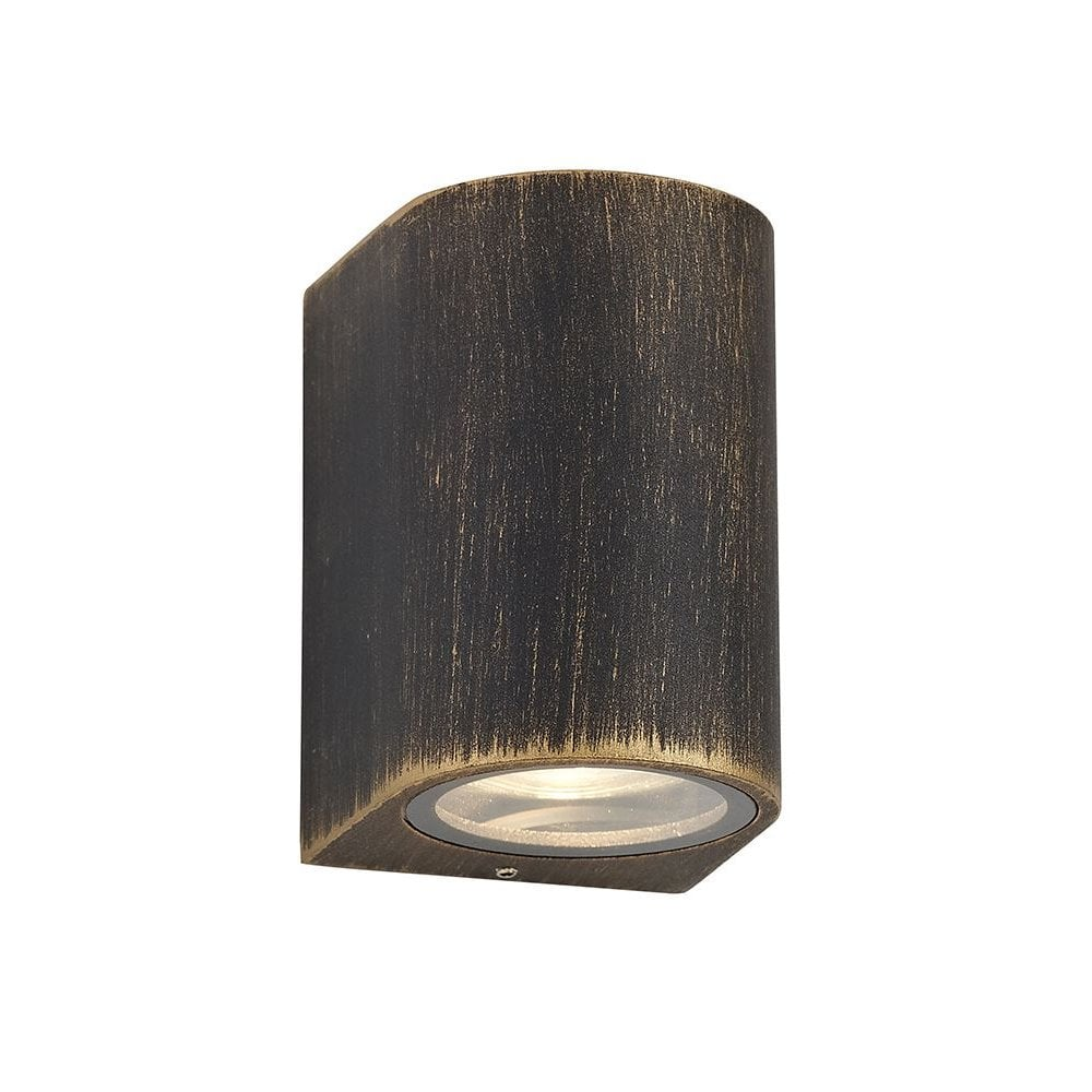Compact Modern Black And Gold Outdoor Wall Light