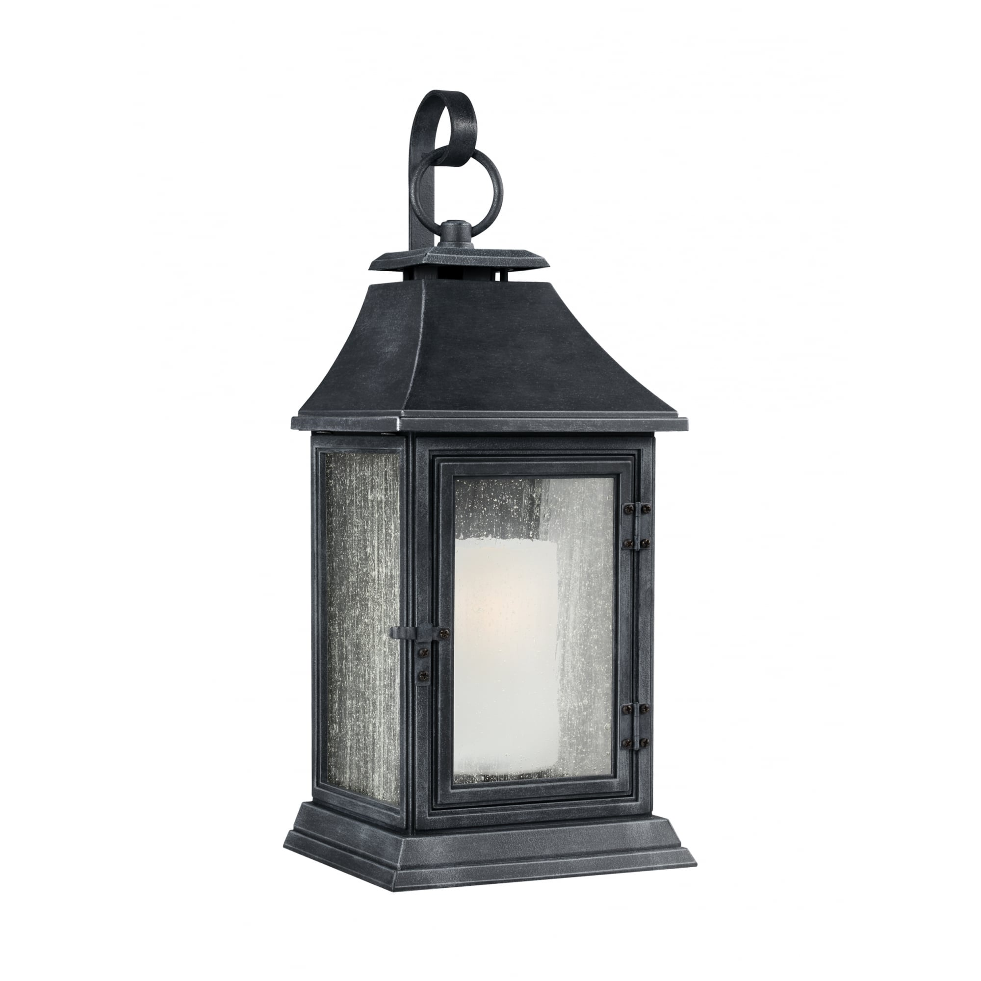 Traditional Large Exterior Wall Lantern In Weathered Zinc Finish