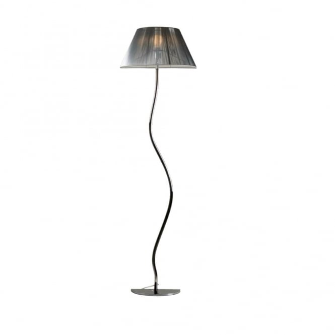 Siam modern half design floor lamp with silk thread shade