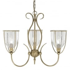 traditional 3 light antique brass ceiling light with clear seeded glasses