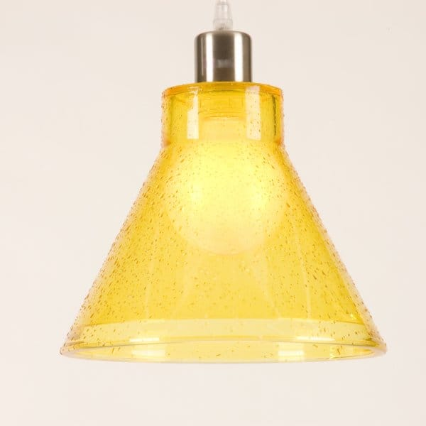 Yellow Glass Ceiling Pendant Light Shade, Modern Retro