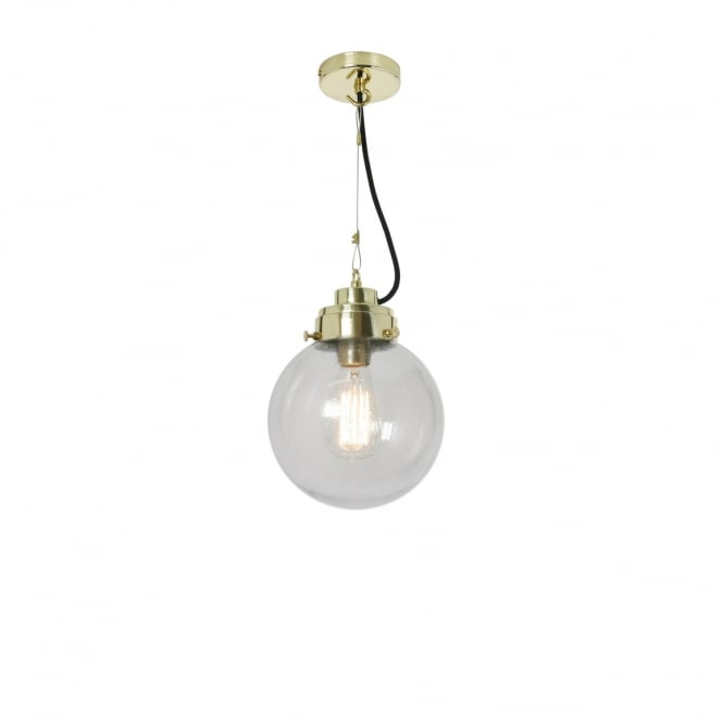 SMALL clear seeded glass globe pendant with brass suspension