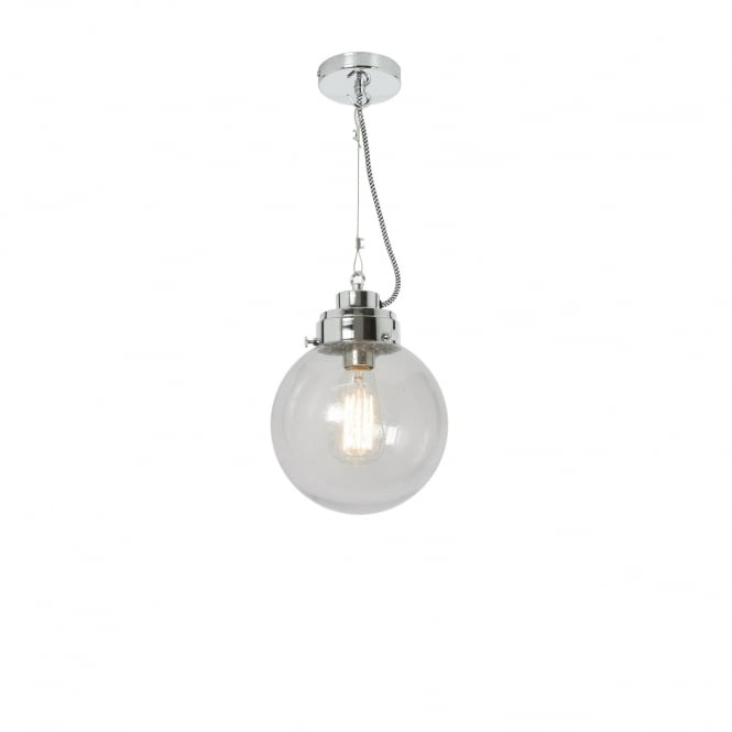 SMALL clear seeded glass globe pendant with chrome suspension