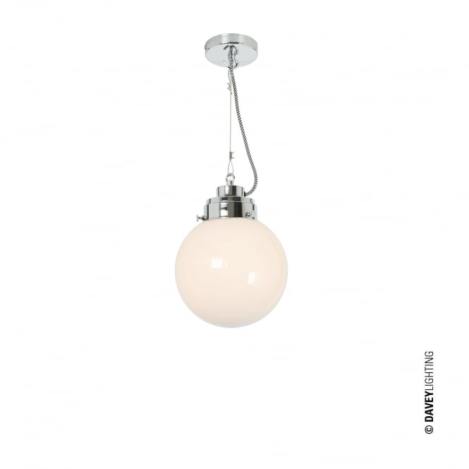 SMALL opal glass globe ceiling pendant with chrome suspension