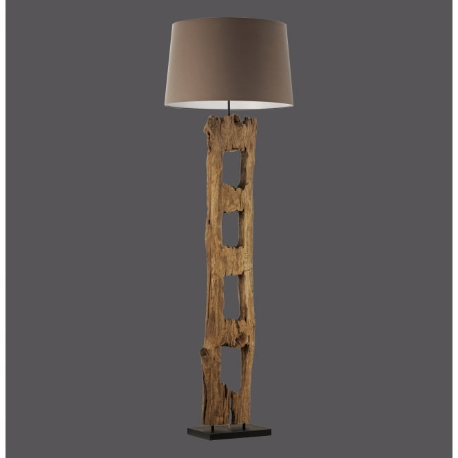 rustic driftwood floor lamp with brown cotton shade. Black Bedroom Furniture Sets. Home Design Ideas