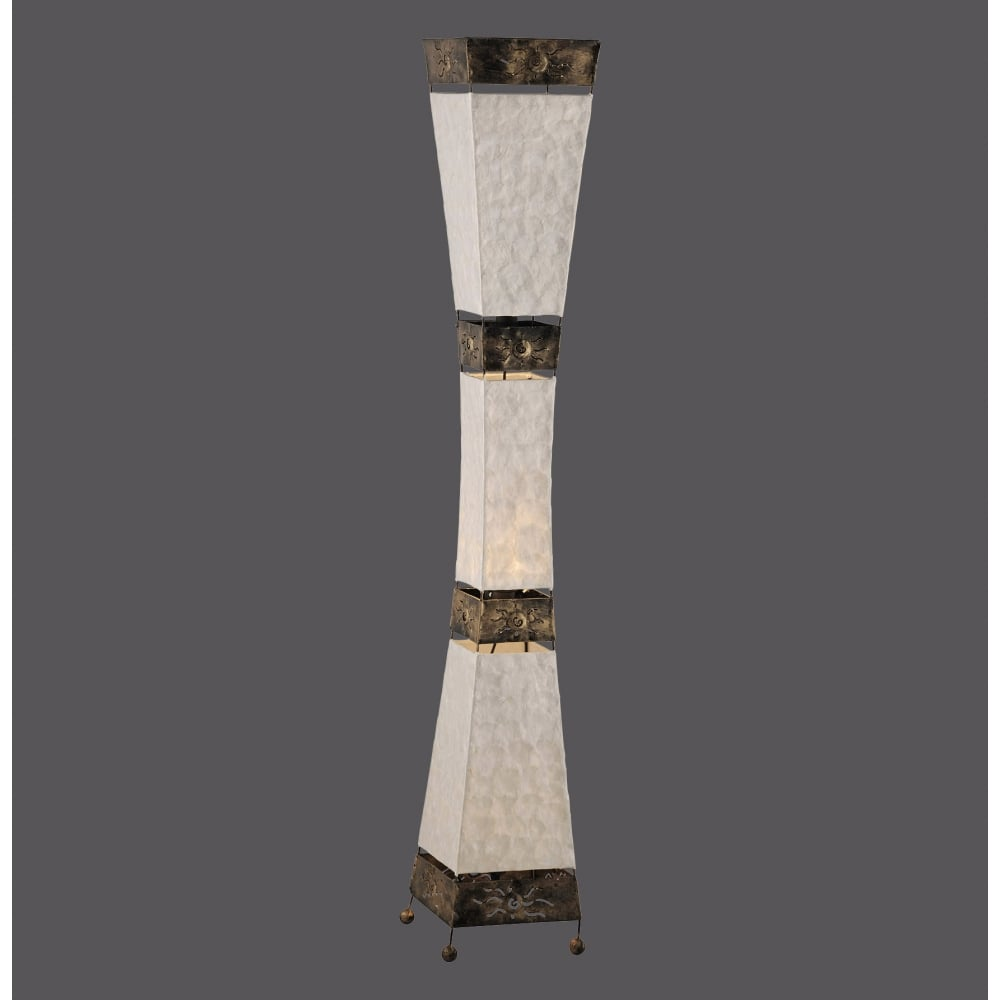 Decorative Metalwork Floor Lamp With Mother Of Pearl Diffuser