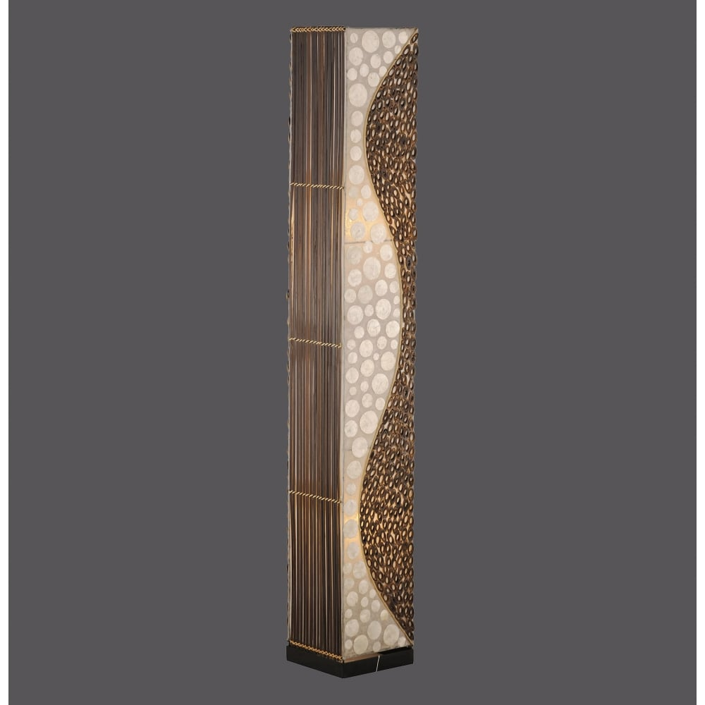 Decorative floor lamp with bamboo detailing decorative bamboo floor lamp with texture detail aloadofball Images