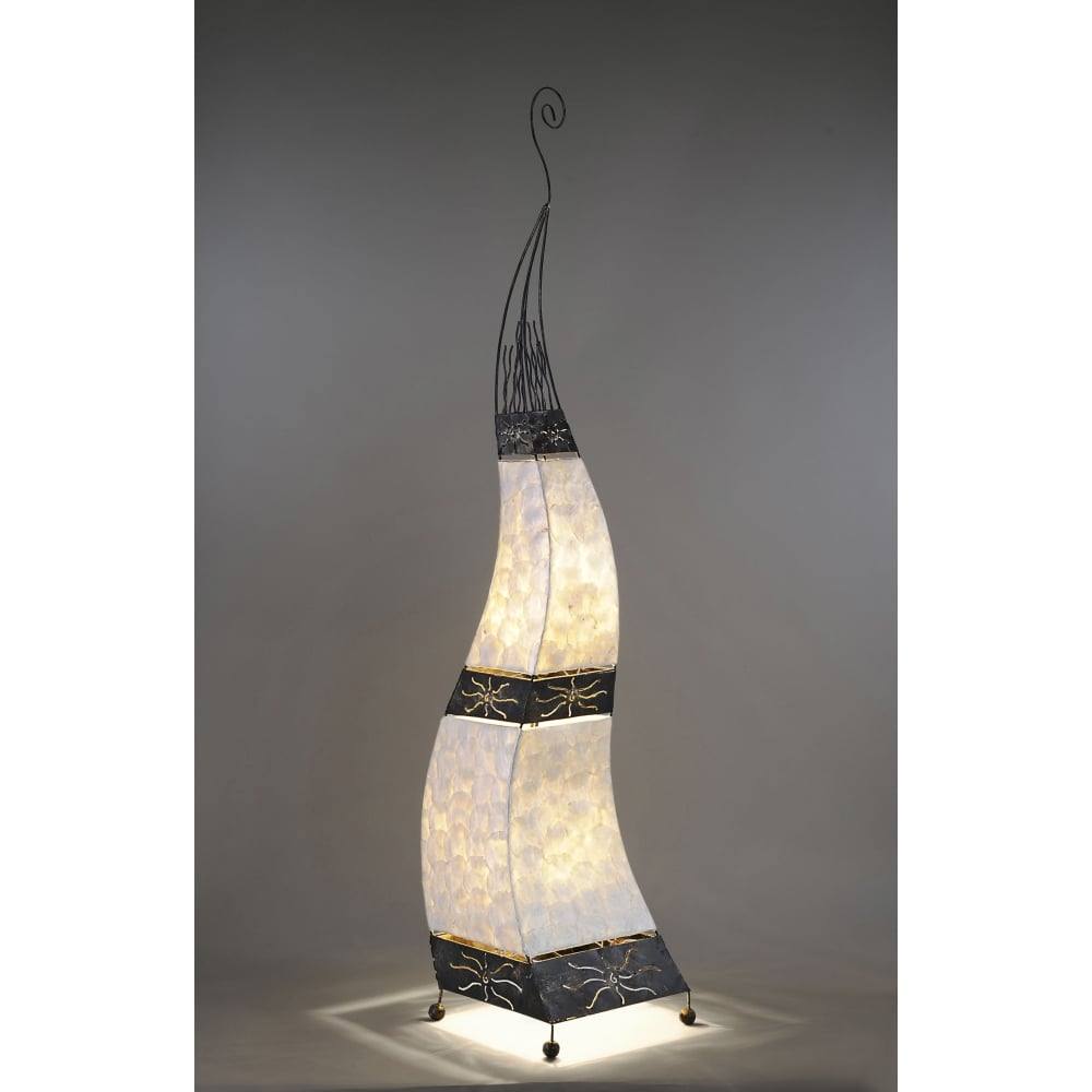 wavy mother of pearl floor lamp with decorative metalwork - Decorative Mother Of Pearl Floor Lamp With Decorative Metalwork