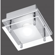 modern square LED flush ceiling light in chrome