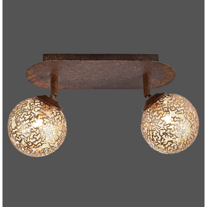 Smart Light GRETA decorative cut metal globe 2 light ceiling light with rust finish