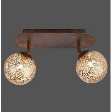 rust effect 2 light ceiling light with cut globe shades