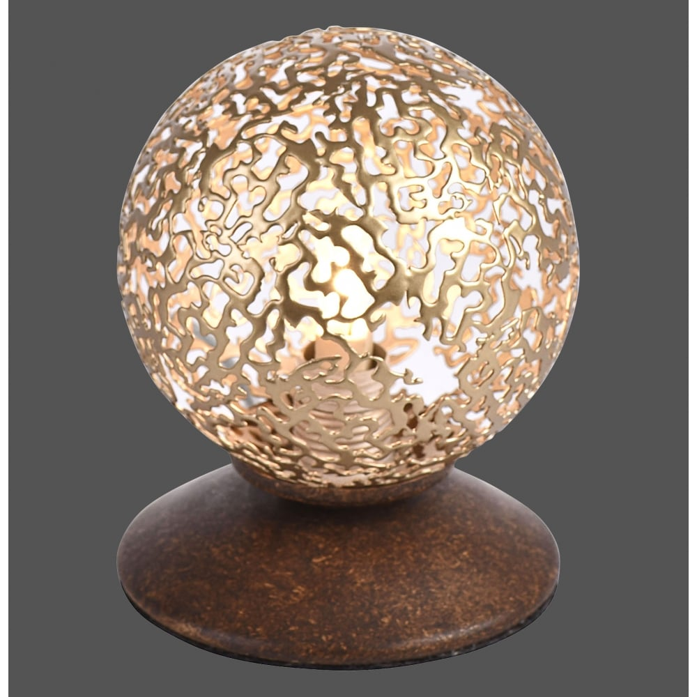 Small Decorative Lamp: Decorative Cut Out Design Globe Table Lamp With Rust