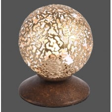 rust effect table lamp with cut out globe shade