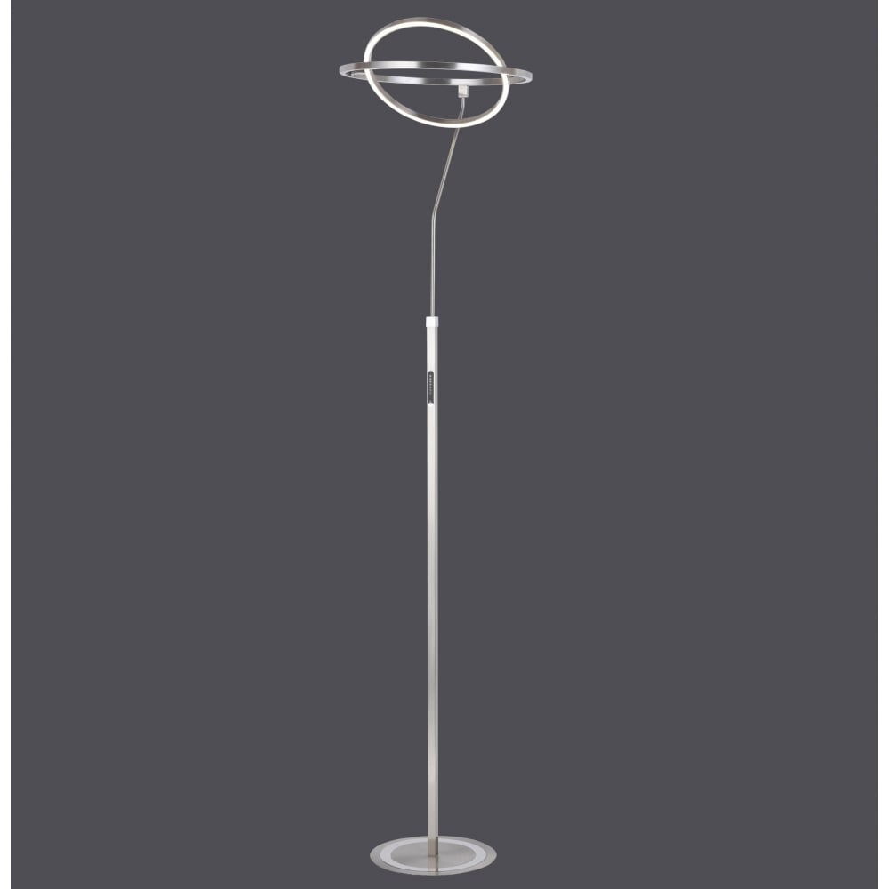 Contemporary Led Floor Lamp With Ring Design In Steel And