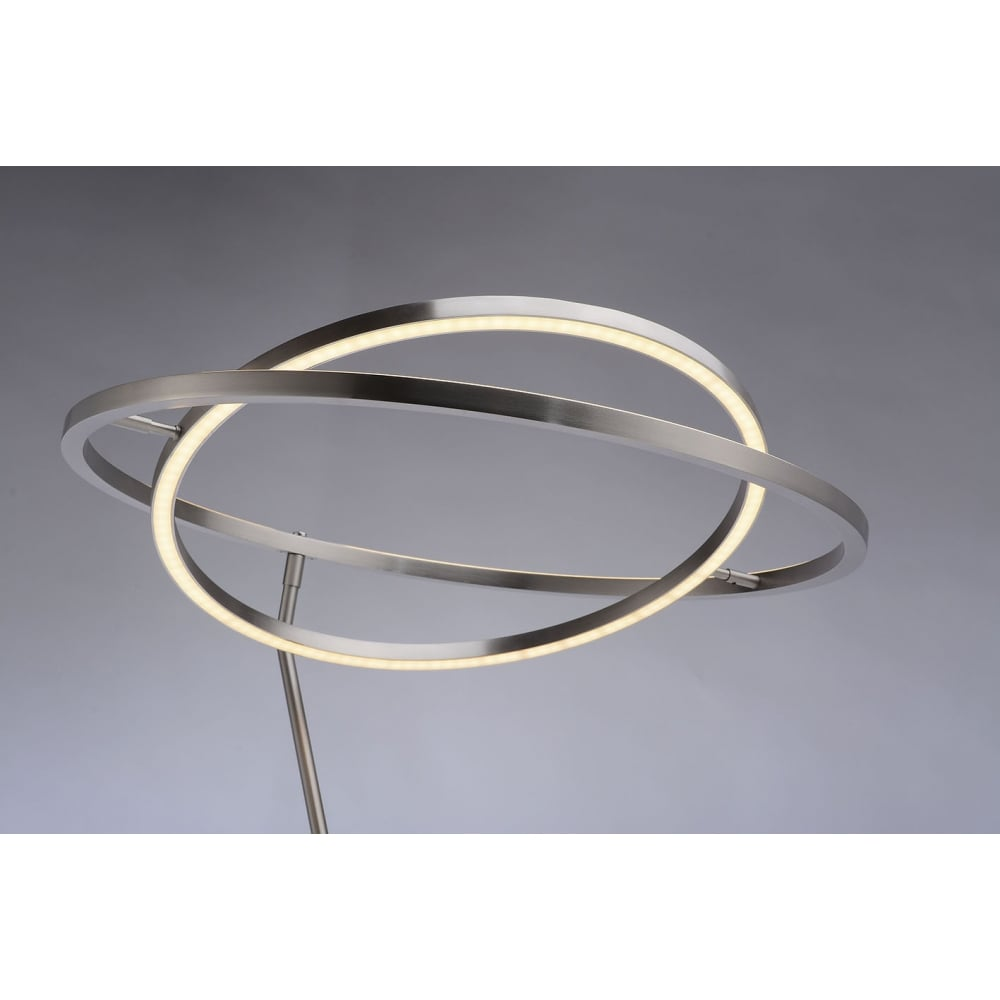 Contemporary led floor lamp with ring design in steel and chrome modern chrome and steel led floor lamp aloadofball Gallery