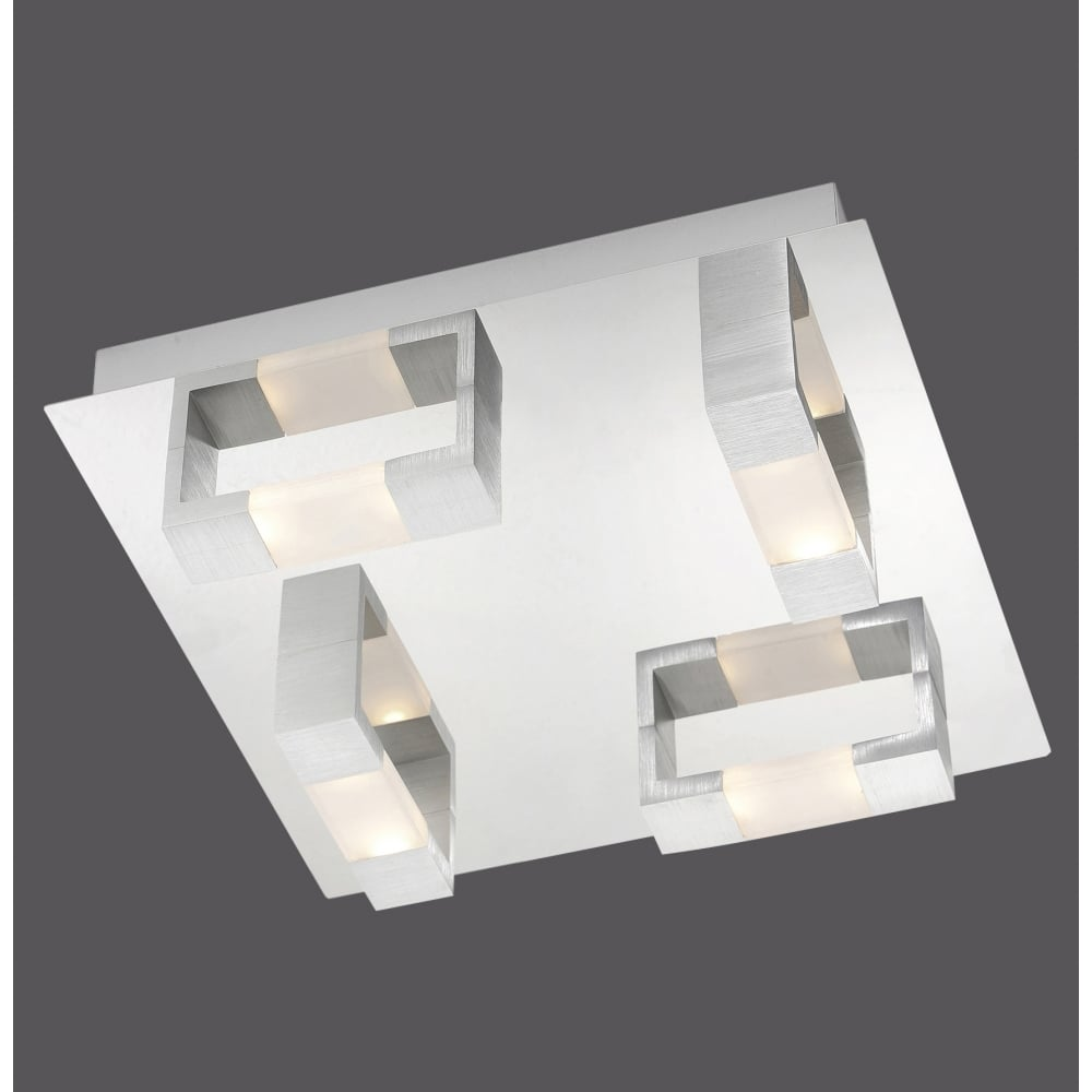 contemporary squared flush led ceiling light in matte aluminium finish. Black Bedroom Furniture Sets. Home Design Ideas