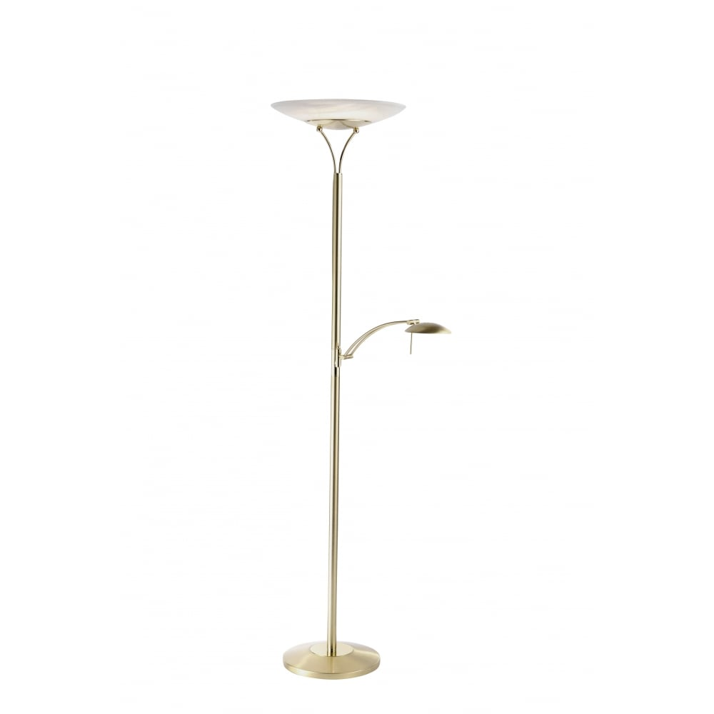 Contemporary led mother and child uplighter floor lamp in brass matte brass led uplighter floor lamp with reading arm aloadofball Gallery