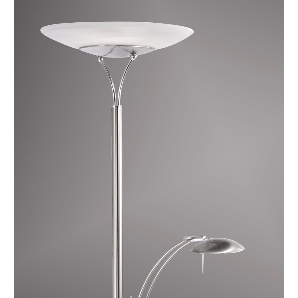Contemporary led mother and child uplighter floor lamp in steel stainless steel led uplighter floor lamp with reading arm aloadofball Image collections