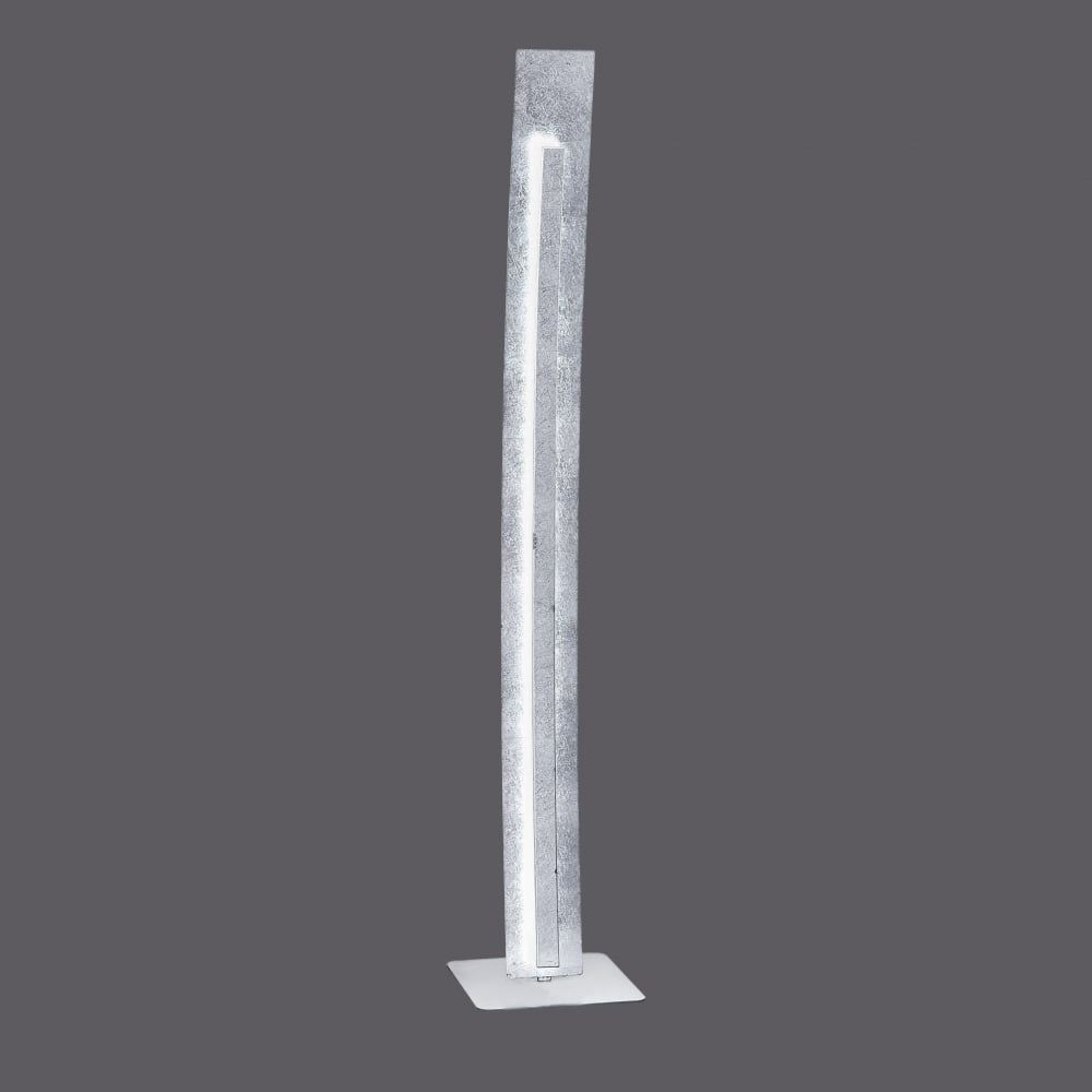 Decorative textured silver curved led floor lamp for Ornate silver floor lamp