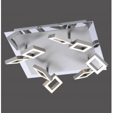 modern brushed steel LED 8 light ceiling light