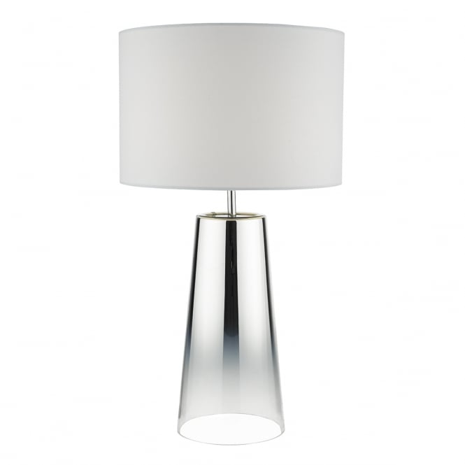 SMOKEY tapered chrome glass table lamp with shade