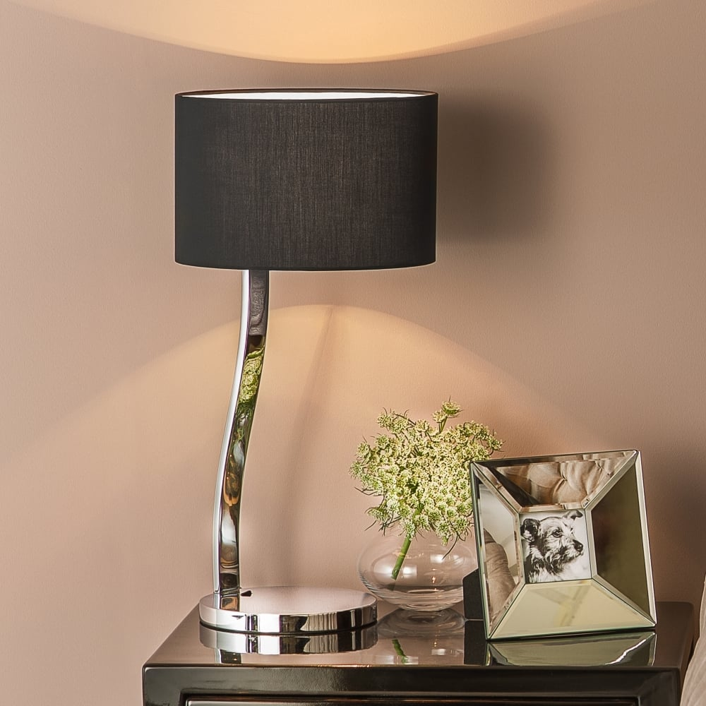 Modern chrome table lamp with black fabric shade lighting company modern chrome table lamp with black shade mozeypictures Gallery
