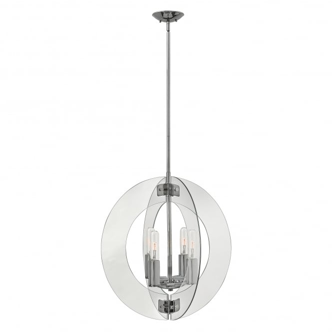 SOLSTICE contemporary pendant chandelier with clear glass panel shades (large)