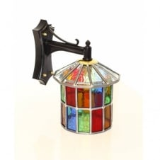 multi coloured stained glass outdoor wall lantern