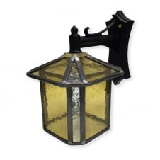 gold stained glass outdoor wall lantern