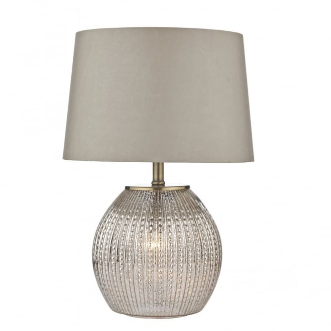 SONIA antique silver glass table lamp with shade (dual light)