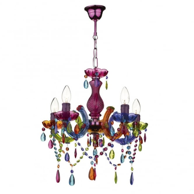 Modern multi coloured ceiling chandelier great for girls bedroom souk 5 light multi coloured chandelier aloadofball Choice Image