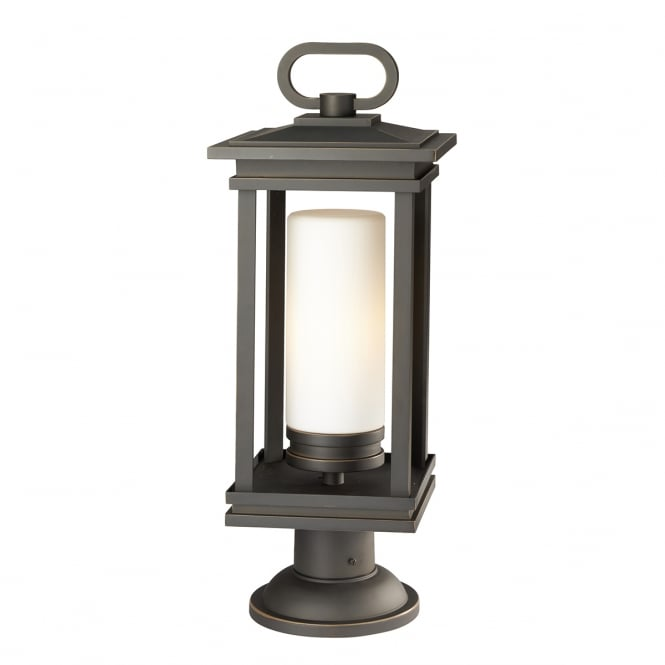 SOUTH HOPE modern classic exterior post lantern in rubbed bronze