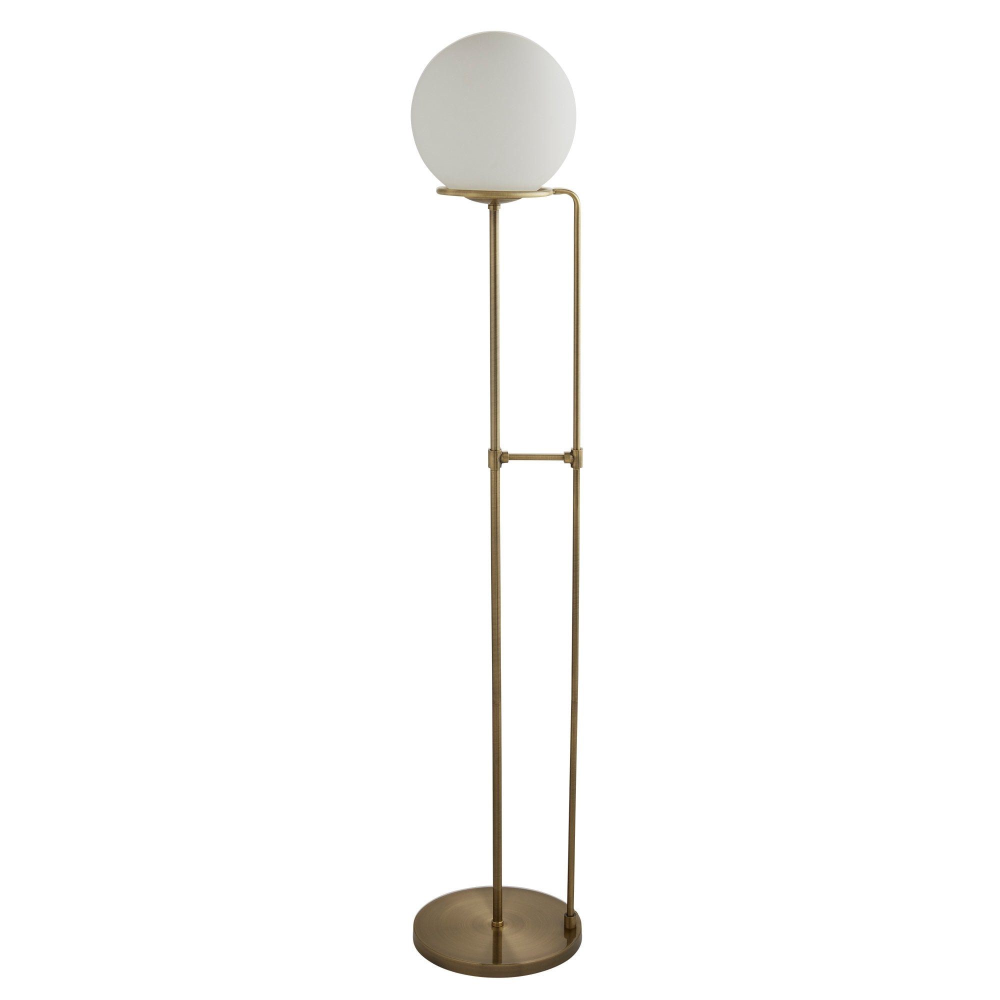 SPHERE antique brass floor lamp with opal glass shade