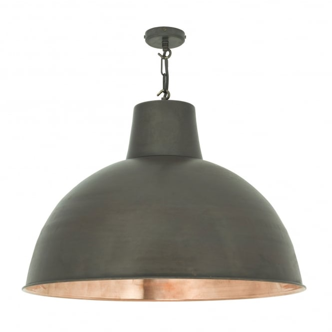 SPUN reflector large weathered copper ceiling pendant with polished inner