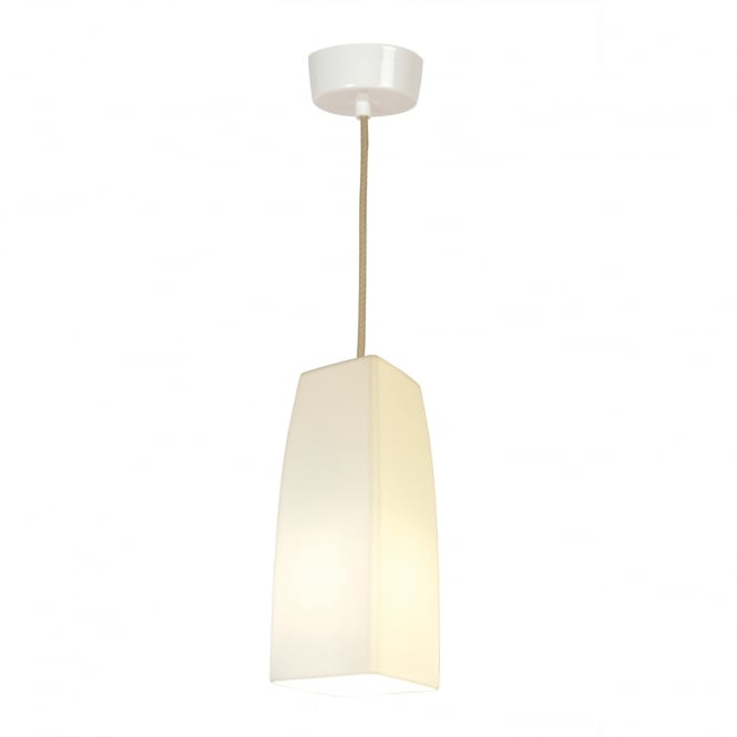 SQUARE small natural white bone china pendant with gloss finish