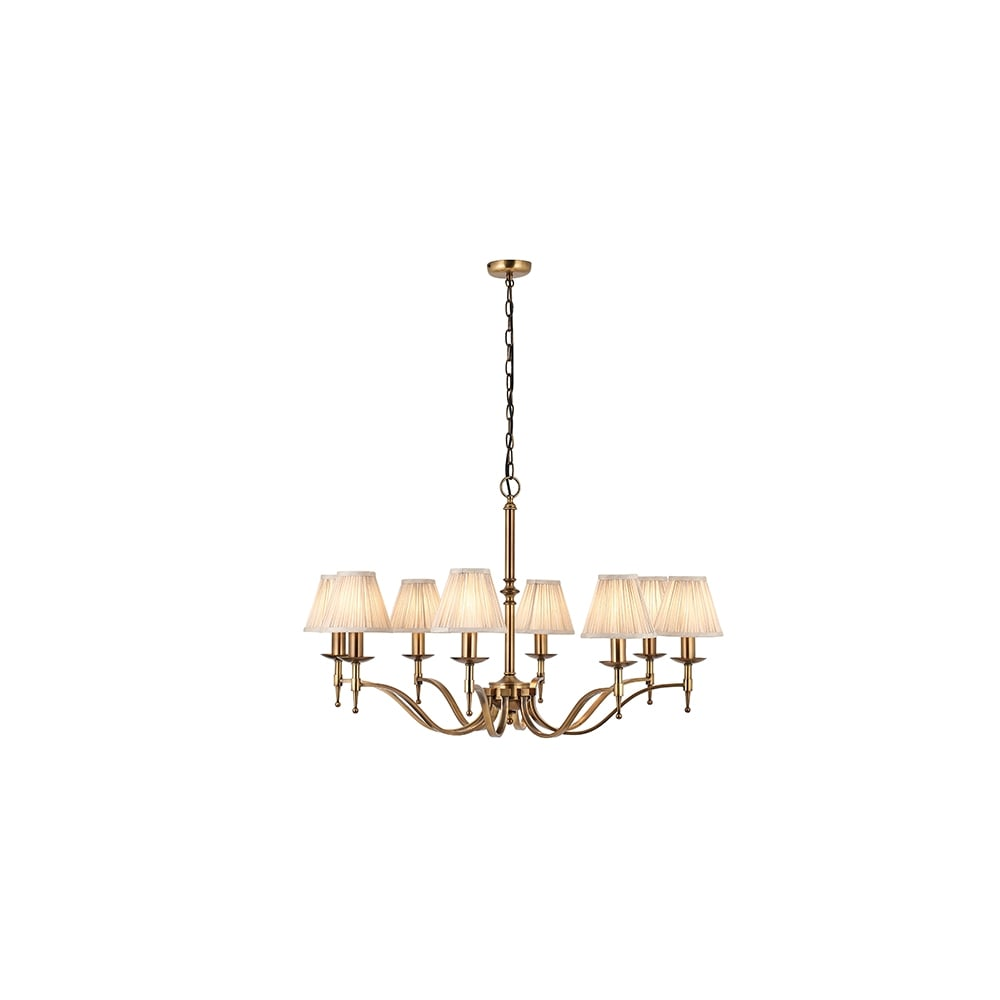 Traditional 8 Light Antique Brass Pendant With Beige Shades