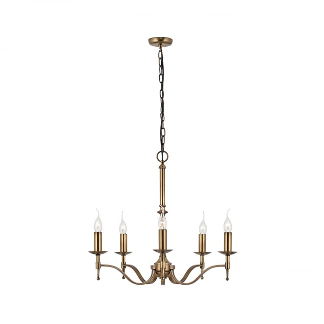 STANFORD aged brass chandelier for high ceilings