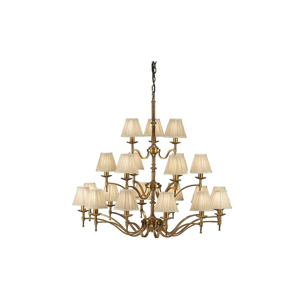 21 Light Antique Brass Chandelier With Clip On Beige Shades