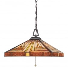 decorative geometric Tiffany ceiling pendant in warm amber tones