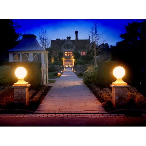 Stone Globe Garden Lights Ip44 Rated Stone By Day