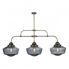 Hanging pendant light vintage style schoolhouse lights for kitchens uk vintage ceiling bar pendant in brass with smoked glass shades aloadofball Image collections