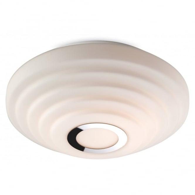 Contemporary Opal Glass Flush Bathroom Ceiling Light W Chrome Detail