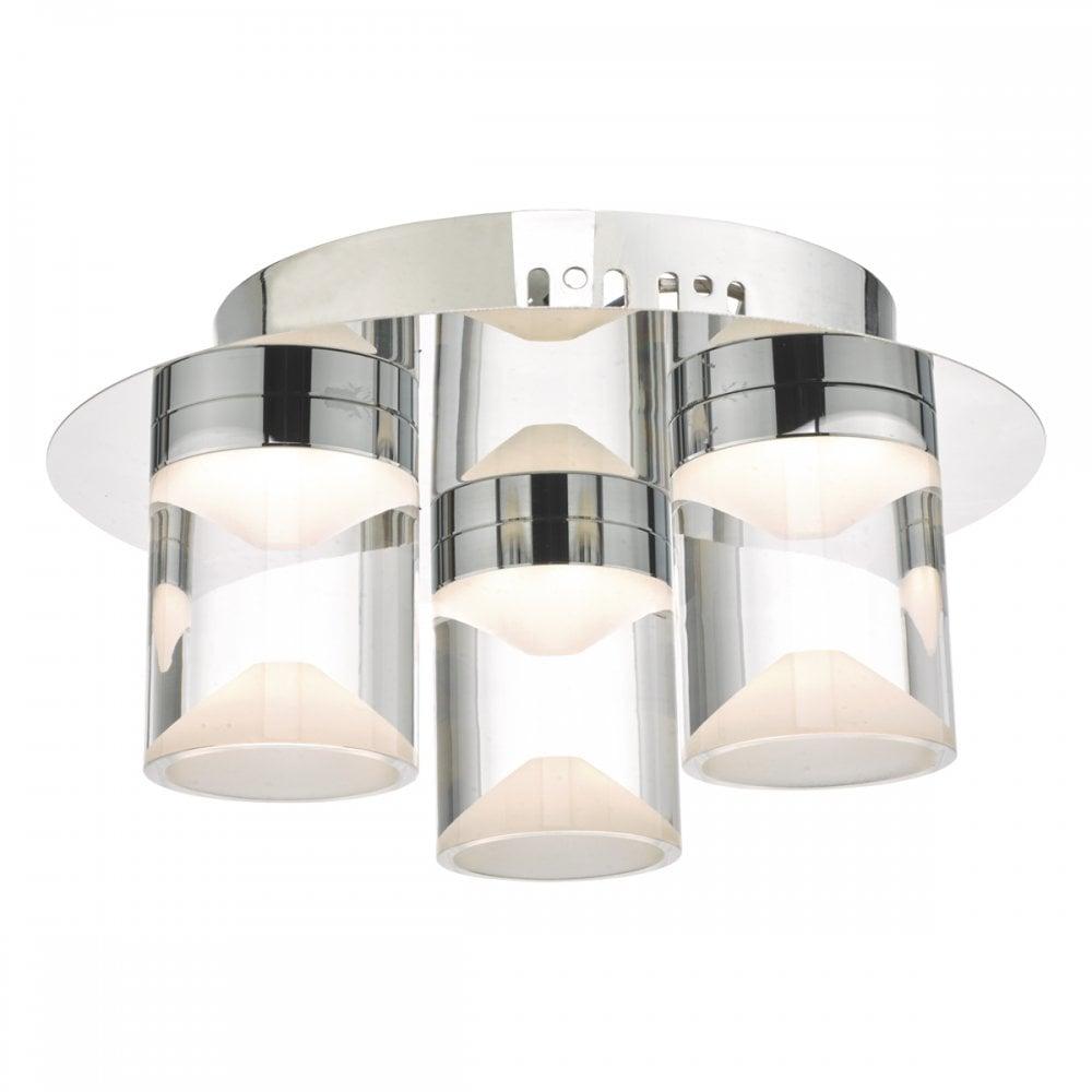 SUSA 3lt flush chrome and acrylic LED ceiling light