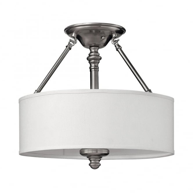 SUSSEX modern traditional semi flush ceiling light in brushed nickel with white shade