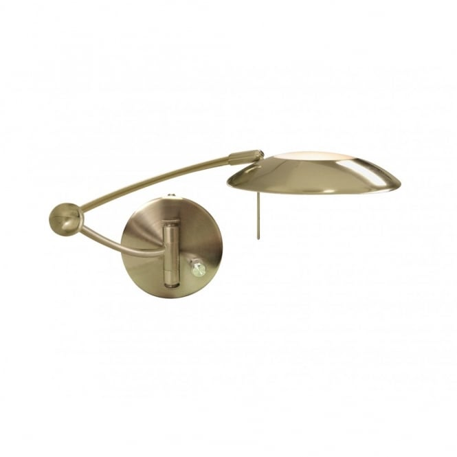 Fully Adjustable Swing Arm Wall Light In Antique Brass