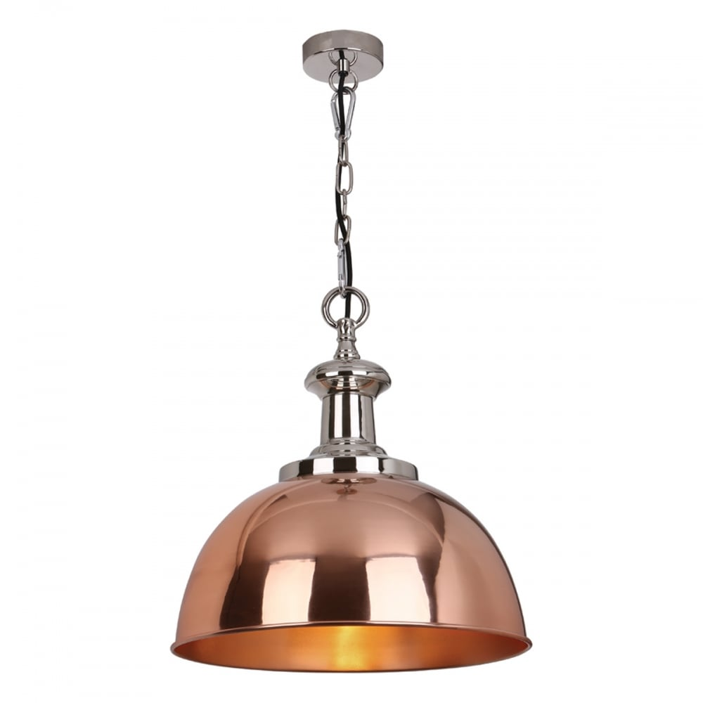sylvie polished nickel and copper industrial ceiling pendant light. Black Bedroom Furniture Sets. Home Design Ideas