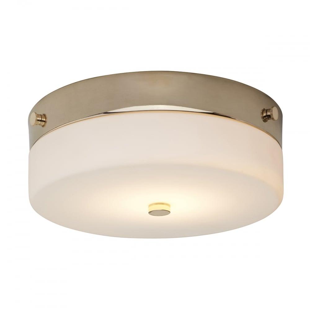 Tamar minimalist flush bathroom ceiling light in gold with opal glass small