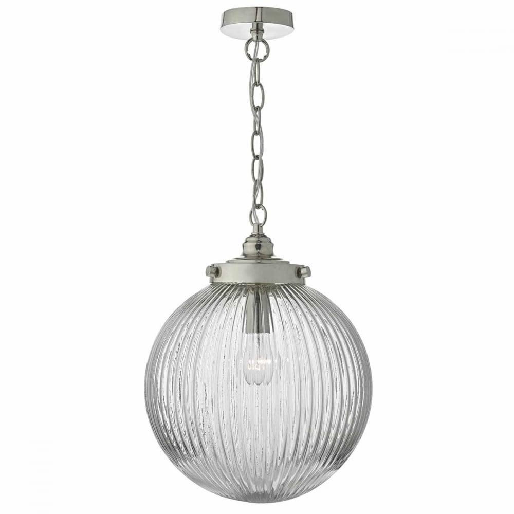 Tamara satin nickel ceiling pendant with ribbed glass globe shade satin nickel ceiling pendant with ribbed globe glass aloadofball Choice Image