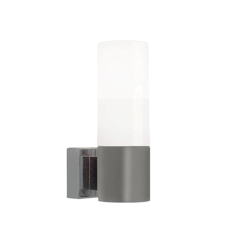 Contemporary Brushed Steel Wall Light with White Glass Shade